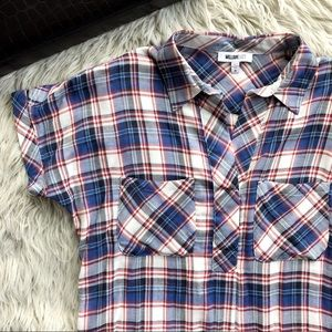 William Rast Red White Blue Pullover Plaid Blouse